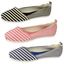 LADIES SPOT ON CANVAS SLIP ON STRIPY NAVY BLACK PINK PUMPS CASUAL SHOES F80039
