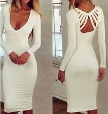 Womens Sexy V neck Bodycon Bandage Evening Party Cocktail Midi Pencil Dress F005