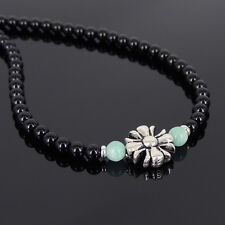 Men's Handmade Necklace Black Onyx Amazonite Gemstone 925 Sterling Silver Cross
