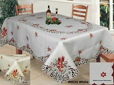 Christmas Embroidered Poinsettia Bells Candles Tablecloth & Napkins Holiday 6625