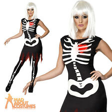Adult Bright Bones Skeleton Costume Ladies Sexy Halloween Fancy Dress Outfit New