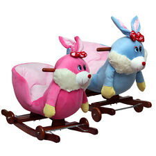 PLUSH BUNNY RABBIT EASTER ROCKING HORSE WITH WHEELS RIDE ON TOY BLUE OR PINK NEW