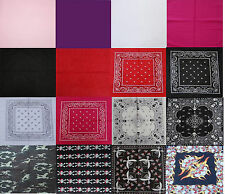 100% Pure Cotton Plain Skull and Paisley Bandana Hair Band Scarf Neck Wrist Wrap