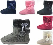 Ladies Womens Warm Knitted Slipper Booties Indoor Slippers Boots Fuzzy Winter