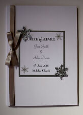 Handmade SNOWFLAKE wedding : ORDER OF SERVICE / PROGRAMS ;60 colours/any qty