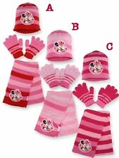 NEW GIRLS LICENSED DISNEY MINNIE MOUSE KNITTED HAT WITH GLOVES & SCARF, ONE SIZE