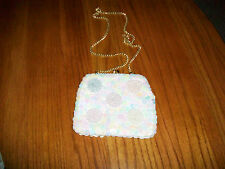 Vintage bridal, prom or evening purse w/ sequins and beads-cream color