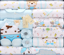 18pcs/Lot Blue Cotton Newborn Baby Set Boy Fall Winter Baby Boy Clothes gift ba