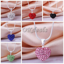 Fashion Crystal Heart 925 Sterling Silver Plated Snake Chain Pendant Necklace