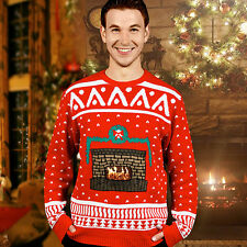 Mens Knitted Crackling Fireplace Christmas Ugly Jumper Sweater Xmas Size S/M/L