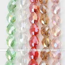 1 Strand Faceted Rice AB Crystal Glass Loose Bead Fit Necklace Bracelet DIY Gift