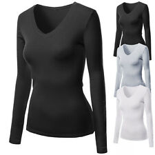 100% Cotton Womens Ladies Basic Tees Long Sleeve V Neck T-shirts Shirts Tops