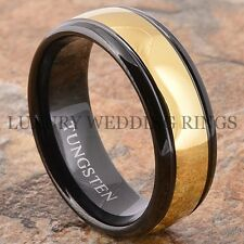 Luxury Men's Tungsten Ring 14K Gold & Black Wedding Band Two-Tone Love Size 6-13