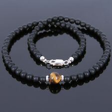 Men's Handmade Necklace Gemstone Matte Black Onyx Tiger Eye 925 Sterling Silver