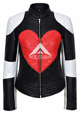 KYLIE' Ladies 1067 RED HEART Timebomb New Biker Motorcycle Style Leather Jacket