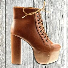 Womens block chunky heel Ladies chelsea platform ankle shoes ankle brown boots