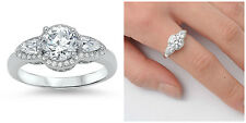 .925 Sterling Silver 10MM SPARKLING ROUND CLEAR CZ ENGAGEMENT RING SIZES 5-10