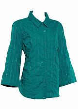 Koret Womens Fashion 3/4 Sleeve Casual Button Blouses Green Size S M L XL