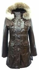 Ladies 9940 Dark Brown Glaze Hooded Mid-Length Fur Real Leather Jacket Coats