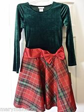 NWT-RARE EDITIONS HOLIDAY DRESS GIRL'S 14 & 16 PLAID SKIRT/GREEN VELOUR/RED BOW