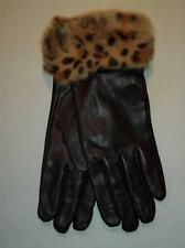 Long Black Leopard Cuff  Buttersoft Genuine Leather Gloves