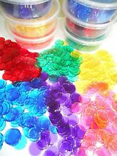 CLEAR COLORED PLASTIC BINGO CHIPS - 300 PCS IN TUB - (Non-Magnetic)