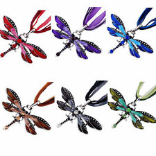 HOT Women Inlay Gemstone Fashion Dragonfly Charms Necklace With Chain Rhinestone