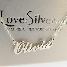 Sterling Silver Carrie Style With Crystal Personalised Any Name Necklace Chain