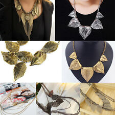 Women Elegant Boho Necklace Multi-layer Leaf Pendant Sweater Chain Exquisite HOT