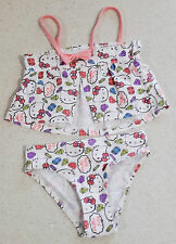Genuine Adorable Hello Kitty White 2 Piece Girls Swimmers / Swim Suit / Bathers