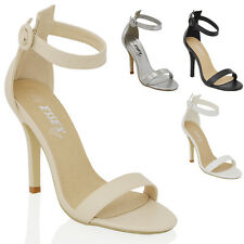 WOMENS STILETTO HEEL ANKLE STRAP SANDALS LADIES PEEP TOE STRAPPY PARTY SHOES 3-8
