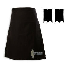 MENS SCOTTISH TARTAN DELUXE 8YD KILT & FLASHES SET - BLACK (PLAIN) - SIZES!