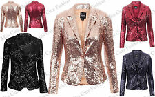 NEW WOMENS LADIES GLAMOROUS LOOK BLINGY SEQUIN BLAZER PARTY LONG SLEEVE JACKET