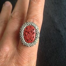 Antique Early 20Th Century Chinese Cinnabar Art Deco Filigree Oval Finger Ring