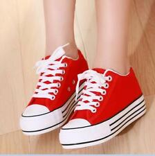 Free Womens Canvas Platform Lace Up Hidden Wedge Casual Sneakers Shoes 5 Colors