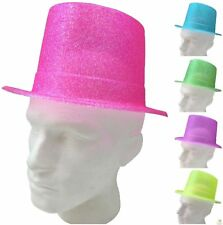 6x FLURO GLITTER TOP HAT Fancy Party Plastic Costume Tall Cap Fun Dress Up BULK