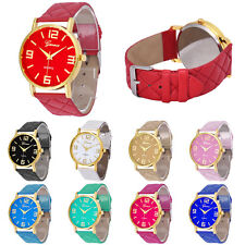 Women Geneva Casual Quilted Leather Band Watch Analog Quartz Vogue Wrist Watches