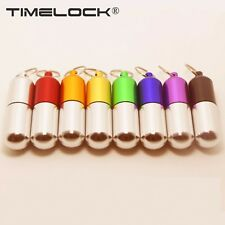 Waterproof Mini Aluminum Pill Box Case Bottle Container Keychain Carabiner Gift