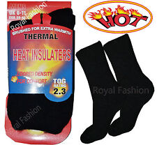 Mens Heat Insulaters Extra Warmth Thermal Plain Black Socks Tog 2.3 Size UK 6-11