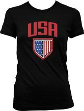 USA Flag Shield Stars Imprint Patriotic Americana Pride Juniors T-shirt