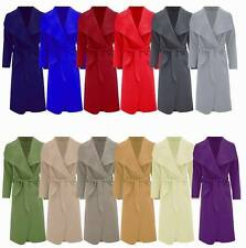 Women Italian Long Duster Coat Ladies French Belted Trench Waterfall Jacket 8-16