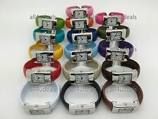 Ladies Small Square Case Snakeskin Leather Bangle Cuff Easy Reader Watch EB1