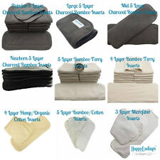 12 Pcs Reusable Washable Cloth Diaper Microfiber Hemp Bamboo Charcoal Inserts US