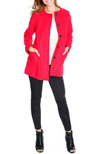 Womens Button Red Peacoat with Pockets