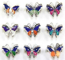Hot 5/10Pcs Mood Change Butterfly Shape Plated Glossy Rings Adjustable 16-20mm