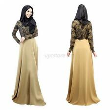 Women Lace Long Sleeve Party Maxi Embroidery Dress Abaya Islamic Muslim Wear U47