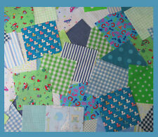Nursery fabric patchwork squares 4 x 4 ins, Blue and Green, Baby Boy. 25 or 50