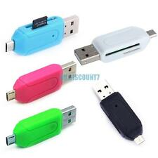 usb 2.0 + micro usb otg sd/t-flash card reader adapter for cell phone tablet pc