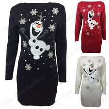 NEW WOMENS LADIES OLAF FROZEN CHRISTMAS TUNIC XMAS DRESS LONG KNITTED JUMPER TOP