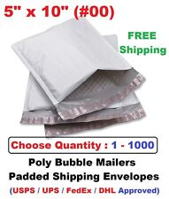 #00 5x10 Poly Bubble Mailers Padded Shipping Envelopes Self Sealing Bags 1 -1000